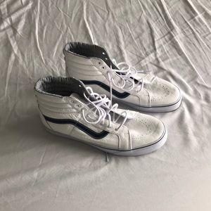 Vans Hi Top leather White Blue Size 13 NWOT